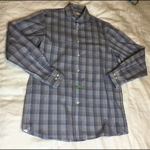 Michael Kors Men 15 1/2 Blue Plaid Button Up Shirt